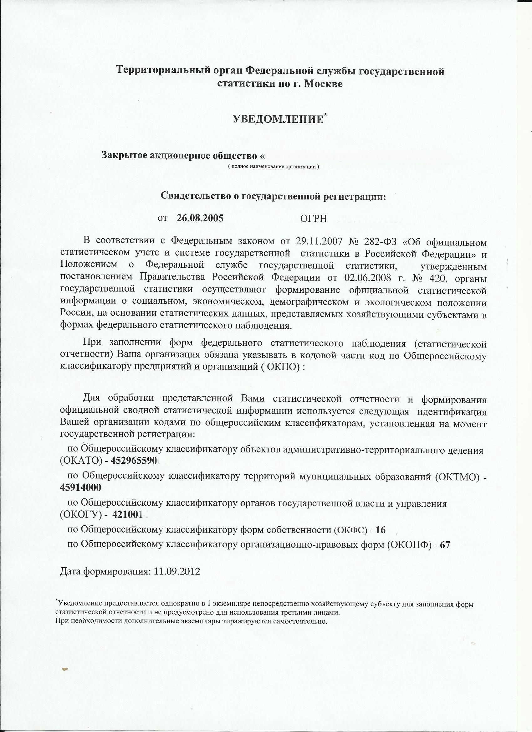 Информационное Письмо Госкомстата О Присвоении Кодов