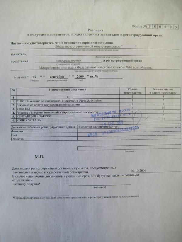 Расписка регистрация ип после регистрации ооо регистрация в роспотребнадзоре